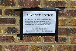 "© Licensed to London News Pictures. 08/04/2013. London, UK A  sign asking people not to park near to the embassy due to ""loading"" on the 9th April on the wall of the The North Korean Embassy in Ealing in West London today, 8th April 2013. The Embassy is based in a 1920's detached house in a residential area. Tensions are high between countries around the world and the North Koreans. Photo credit : Stephen Simpson/LNP"