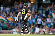SYDNEY - NOVEMBER 25: Australian player D'Arcy Short walks off after being given out at the International Gillette T20 cricket match between Australia and India at The Sydney Cricket Ground in NSW on November 25, 2018. (Photo by Speed Media/Icon Sportswire)