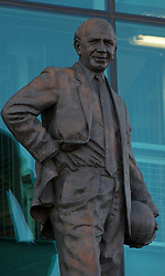 MANCHESTER, ENGLAND - Sunday, March 23, 2008: The statue of Sir Matt Busby outside Manchester United's Old Trafford stadium. (Photo by David Rawcliffe/Propaganda)