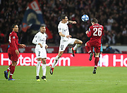 Andrew Robertson of Liverpool against Angel Di Maria of Paris Saint-Germain during the Champions League group stage match between Paris Saint-Germain and Liverpool at Parc des Princes, Paris, France on 28 November 2018.