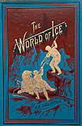 The World Of Ice by R.M.Ballantyne, gilt book cover depicts hunters harpooning walrus in Arctic, Nelson and sons, London, 1896.
