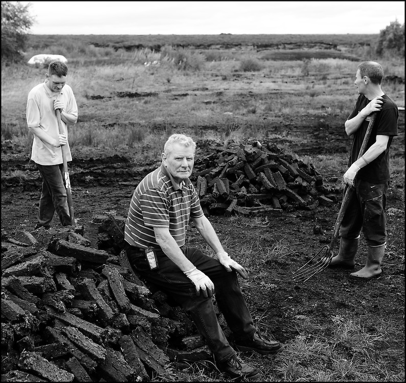 Tom Higgins with his sons Michael and Brian on their bog at Mouds Bog in Co. Kildare.