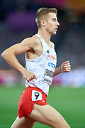 Great Britain, London - 2017 August 13: Marcin Lewandowski (CWZS Zawisza Bydgoszcz) of Poland competes in men&rsquo;s 1500 meters final during IAAF World Championships London 2017 Day 10 at London Stadium on August 13, 2017 in London, Great Britain.<br /> <br /> Mandatory credit:<br /> Photo by &copy; Adam Nurkiewicz<br /> <br /> Adam Nurkiewicz declares that he has no rights to the image of people at the photographs of his authorship.<br /> <br /> Picture also available in RAW (NEF) or TIFF format on special request.<br /> <br /> Any editorial, commercial or promotional use requires written permission from the author of image.