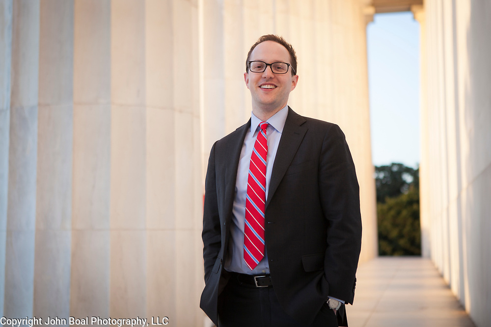 Jason Derr, Federal Reserve Attorney, at the Lincoln Memorial, alumni, George Mason University School of Law. For GMU School of Law.