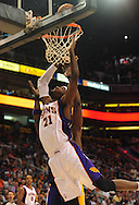 Oct. 29 2010; Phoenix, AZ, USA; Phoenix Suns power forward Hakim Warrick (21) puts up a basket against the Los Angeles Lakers during the second quarter at the US Airways Center. Mandatory Credit: Jennifer Stewart-US PRESSWIRE.