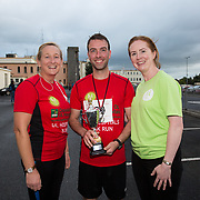 25.08. 2017.                                                                         <br /> Almost 200 UL Hospitals Group staff, past and present, and members of the public completed the annual 5k Charity Run/Walk on Friday August 25th in Limerick.<br /> <br /> Mairead Cowan, Directorate Nurse Manager, Medicine Directorate and  Laura Tobin, Healthy Ireland, Project Lead present the trophy for first male staff member home to Anthony McMahon.<br /> <br /> <br /> Everybody who participated also raised funds for Friends of Ghana, an NGO formed last year by UL Hospitals Group and its academic partner the University of Limerick to deliver medical training programmes in the remote Upper West Region of Ghana. Picture: Alan Place