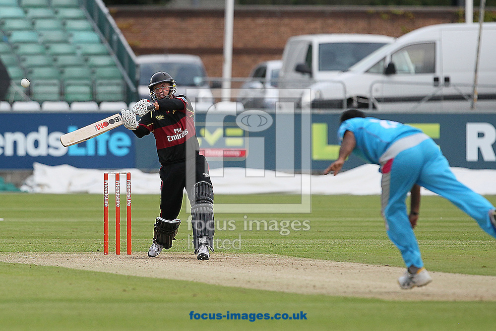 Picture by Mark Fletcher/Focus Images Ltd. 0775 2571576.27/06/12.Herschelle Gibbs of of Durham Dynamos lofts Rana Naved-Hasan of Derbyshire Falcons over cover for four during the FL t20 match at Emirates Durham ICG, Chester-le-Street, County Durham.