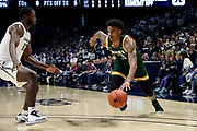 Manny Camper (3) of Siena drives the ball past Dontarius James (12) of Xavier during an NCAA college basketball game, Friday, Nov. 8, 2019, at the Cintas Center in Cincinnati, OH. Xavier defeated Siena 81-63. (Jason Whitman/Image of Sport)