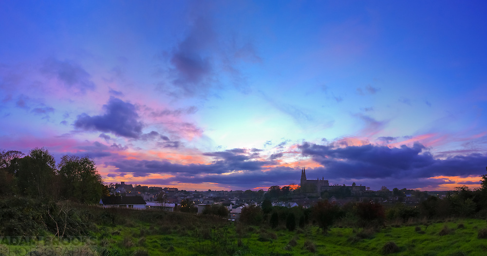 Sunset overlooking Armagh from November 2013 during dusk after sunset giving some lovely pinks and purples in the sky.<br />