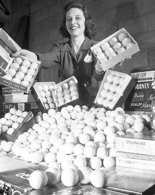 Women With Golf Balls Woooh! 1948