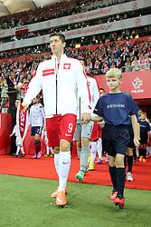 14.10.2014, Nationalstadium, Warsaw, POL, UEFA Euro Qualifikation, Polen vs Schottland, Gruppe D, im Bild ROBERT LEWANDOWSKI // during the UEFA EURO 2016 Qualifier group D match between Poland and Scotland at the Nationalstadium in Warsaw, Poland on 2014/10/14. EXPA Pictures © 2014, PhotoCredit: EXPA/ Newspix/ Lukasz Grochala<br /> <br /> *****ATTENTION - for AUT, SLO, CRO, SRB, BIH, MAZ, TUR, SUI, SWE only*****