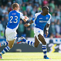 St Johnstone v Celtic....15.09.12      SPL  <br /> Gregory Tade celebrates his goal with Rowan Vine<br /> Picture by Graeme Hart.<br /> Copyright Perthshire Picture Agency<br /> Tel: 01738 623350  Mobile: 07990 594431