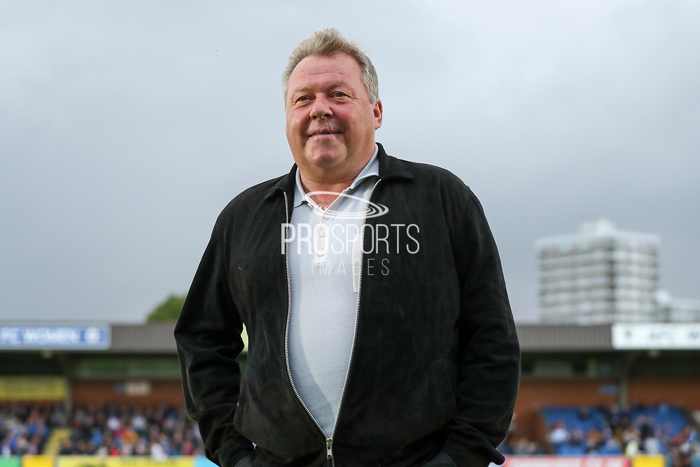 AFC Wimbledon manager Wally Downes walking onto pitch,  during the Pre-Season Friendly match between AFC Wimbledon and Crystal Palace at the Cherry Red Records Stadium, Kingston, England on 30 July 2019.