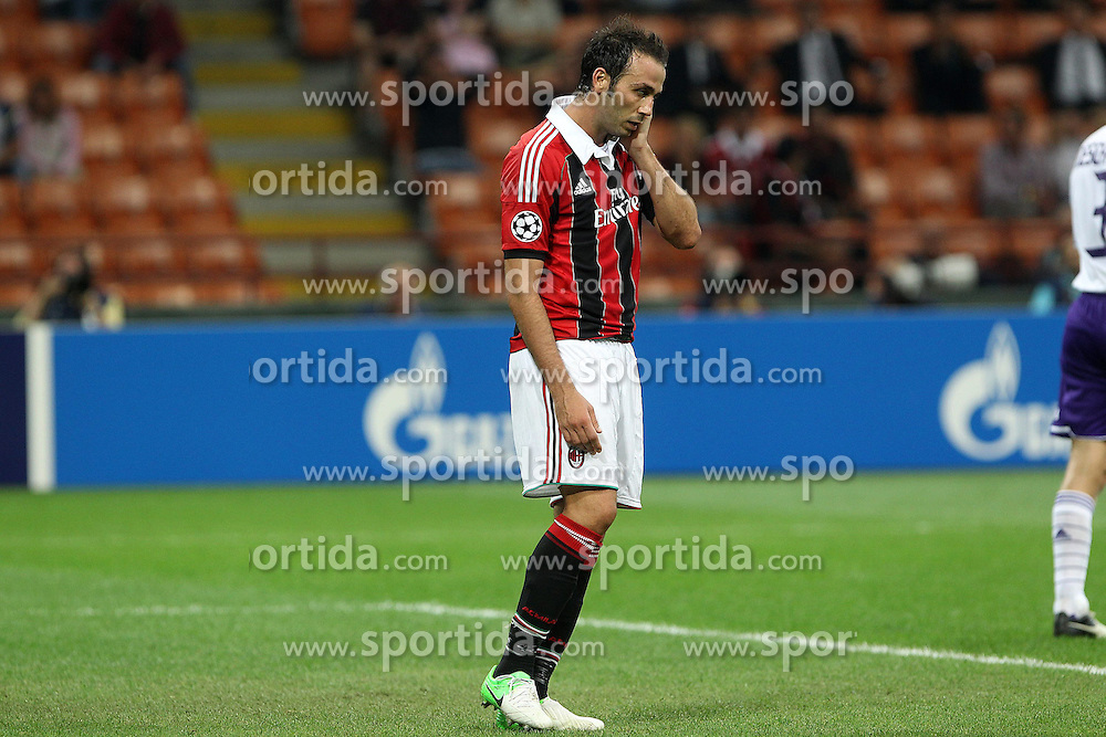 18.09.2012, Stadio Giuseppe Meazza, Mailand, ITA, UEFA Champions League, AC Mailand vs RSC Anderlecht, Gruppe C, im Bild Delusione Giampaolo Pazzini Milan // during the UEFA Champions League group C match between AC Milan and RSC Anderlecht at the Stadio Giuseppe Meazza, Milano, Italy on 2012/09/18. EXPA Pictures © 2012, PhotoCredit: EXPA/ Insidefoto/ Paolo Nucci..***** ATTENTION - for AUT, SLO, CRO, SRB, SUI and SWE only *****