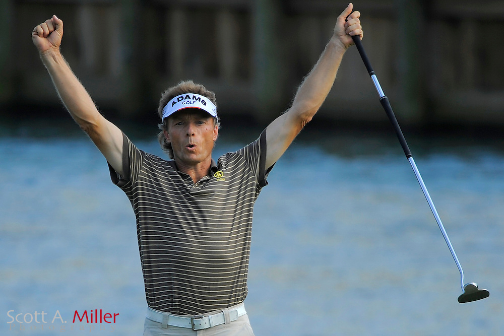 Bernhard Langer celebrates a birdie putt on the 17th hole during the second round of the Players Championship at TPC Sawgrass on May 9, 2008 in Ponte Vedra Beach, Florida.     © 2008 Scott A. Miller