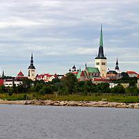 Europe, Estonia, Tallinn. Cityscape of Tallinn as seen from the waterfront.