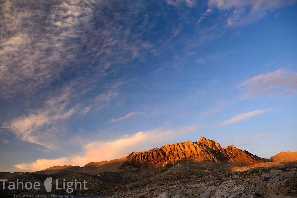 Sunset on Mt. Humphreys as seen from Desolation Lake in Humphreys Basin in the High Sierra outside of Bishop, CA.