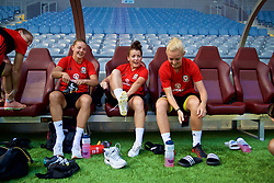 ASTANA, KAZAKHSTAN - Friday, September 15, 2017: Wales' Loren Dykes, Angharad James and captain Sophie Ingle training at the Astana Arena ahead of the FIFA Women's World Cup 2019 Qualifying Round Group 1 match against Kazakhstan. (Pic by David Rawcliffe/Propaganda)
