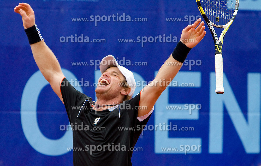 Blaz Kavcic of Slovenia  celebrates after winning the final match against David Goffin of Belgium during day five of the ATP Challenger  BMW Ljubljana Open 2010, on September 26, 2010,  in TC Ljubljana Siska, Slovenia. Kavcic defeated Goffin 6:2, 4:6, 7:5.  (Photo by Vid Ponikvar / Sportida)