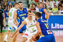 Zoran Dragic of Slovenia and Dardan Berisha of Kosovo during qualifying match between Slovenia and Kosovo for European basketball championship 2017,  Arena Stozice, Ljubljana on 31th August, Slovenia. Photo by Grega Valancic / Sportida