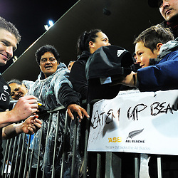 Beauden Barrett signs autographs after the Rugby Championship match between the NZ All Blacks and Argentina Pumas at Yarrow Stadium in New Plymouth, New Zealand on Saturday, 9 September 2017. Photo: Dave Lintott / lintottphoto.co.nz