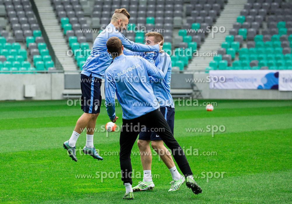 Dejan Lazarevic and Robert Beric during practice session of Slovenian National Football team two days before Euro 2016 Qualifying game between Slovenia and Lithuania, on October 7, 2015 in SRC Stozice, Ljubljana Slovenia. Photo by Vid Ponikvar / Sportida