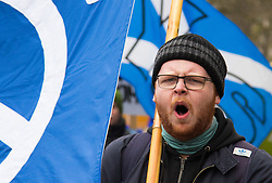 London, February 27th 2016. A man shouts slogans during CND's march and rally opposing the UK's Trident nuclear weapons programme. <br /> &copy;Paul Davey<br /> FOR LICENCING CONTACT: Paul Davey +44 (0) 7966 016 296 paul@pauldaveycreative.co.uk