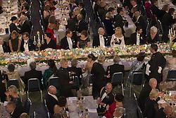 Table of honor - Jenni Ahlin, Bernard L Feringa, Prinz Daniel, Simone Carmen Boni, Odile Belmont, Kˆnig Carl XVI Gustaf, Evi Heldin, Prinz Carl Philip, Prinzessin  Sofia, Jean-Pierre Sauvage, Kronprinzessin Victoria, J. Michael Kosterlitz, Kˆnigin  Silvia, Carl-Henrik Heldin<br /> <br />  <br /> <br />  beim Nobelbankett 2016 im Rathaus in Stockholm / 101216 <br /> <br /> <br /> <br /> ***The Nobel banquet, Stockholm City Hall, December 10th, 2016***