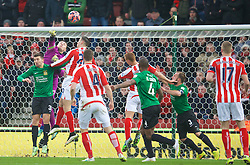 STOKE-ON-TRENT, ENGLAND - Sunday, January 4, 2015: Wrexham's goalkeeper Jonathan Flatt in action against Stoke City during the FA Cup 3rd Round match at the Britannia Stadium. (Pic by David Rawcliffe/Propaganda)