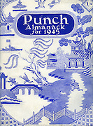 Front cover of the Punch Almanack for 1945 .  ..Willow pattern design with Mr Punch chasing Japanese soldiers over the bridge with fixed bayonet and his Toby dog ...