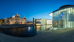 Night view of The Reichstag parliament building, Paul Lobe Haus and Marie Elisabeth Luders ( Lueders) Haus government buildings beside River Spree in Berlin Germany