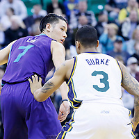 27 January 2016: Utah Jazz guard Trey Burke (3) defends on Charlotte Hornets guard Jeremy Lin (7) during the Utah Jazz 102-73 victory over the Charlotte Hornets, at the Vivint Smart Home Arena, Salt Lake City, Utah, USA.