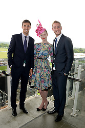 Left to right, STEVEN FINN, JADE PARFITT and STUART BROAD at the Investec Derby 2013 held at Epsom Racecourse, Epsom, Surrey on 1st June 2013.