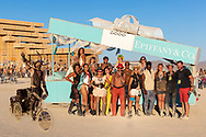 Wonderful campmates. Thank you for making Burning Man amazing. (with a campmate who couldn't make the group photo lazily photoshopped in)