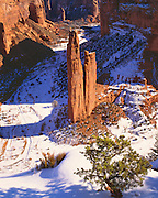 0100-1014C ~ Copyright: George H. H. Huey ~ Spider Rock, sacred Navajo Indian site. Winter. Canyon de Chelly National Monument, Arizona.