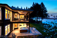 A new home on the ocean in Saltair, BC on Vancouver Island features contemporary design by Jodi McKeown Foster and craftsmanship by builder Bruce Muir of Elmworth Construction.