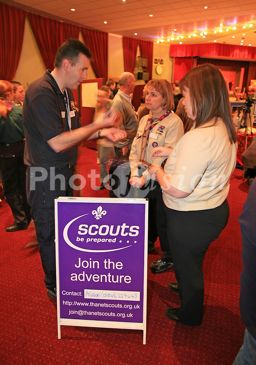 Scouts stand at Wots On event to encourage children to take part in sport and afterschool activities; Margate; Kent, Organised by Thanet Community Development Trust and funded by the Interreg project