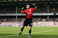 Photo: Paul Thomas.<br /> Everton v Manchester United. The Barclays Premiership. 28/04/2007.<br /> <br /> Wayne Ronney celebrates Utd's third goal.