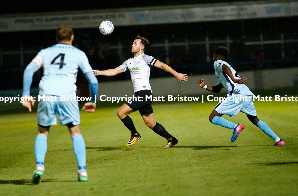 SEPTEMBER 12:  Top of the table Dover Athletic FChost eighth place Boreham Wood FC in Conference Premier at Crabble Stadium in Dover, England. The visitors, Boreham Wood  ran out winners a goal to nothing. Dover's captain Mitch Brundle on the ball. (Photo by Matt Bristow/mattbristow.net)