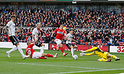 Middlesbrough forward Martin Braithwaite (10) fails to connect with a cross during the EFL Sky Bet Championship match between Middlesbrough and Swansea City at the Riverside Stadium, Middlesbrough, England on 22 September 2018.