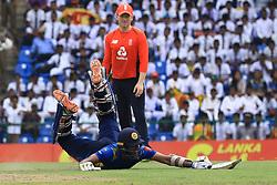 October 20, 2018 - Kandy, Sri Lanka - Sri Lankan cricketer Dasun Shanaka plays is run out during the 4th One Day International cricket match between Sri Lanka and England at the Pallekele International Cricket Stadium  Sri Lanka. Saturday 20 October 2018  (Credit Image: © Tharaka Basnayaka/NurPhoto via ZUMA Press)