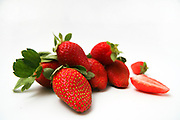 Cutout of Organic Strawberries on white background