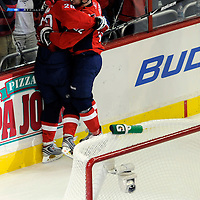 28 April 2009:   Washington Capitals left wing Alexander Semin (28) is embraced by defenseman Mike Green (52) after Semin scored a goal against New York Rangers goalie Henrik Lundqvist (30) in the 1st period in the seventh game of the Eastern Conference NHL quarterfinal playoff game at the Verizon Center in Washington, D.C.  The Washington Capitals defeated the New York Rangers 2-1 in the Eastern Conference NHL quaterfinal playoff to advance to the second round of the playoffs.