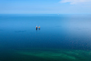 Nederland, Friesland, Ameland, 05-08-2014; oostpunt Ameland met boorplatform van de Nam voor aardgaswinning.<br /> Wadden island Ameland, drilling rig<br /> luchtfoto (toeslag op standard tarieven);<br /> aerial photo (additional fee required);<br /> copyright foto/photo Siebe Swart