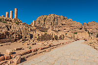roman avenue in Nabatean Petra Jordan middle east