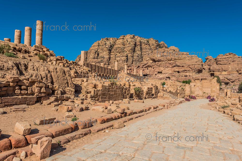 roman avenue in Nabatean Petra Jordan middle east
