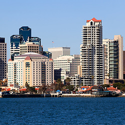 High resolution photo of San Diego buildings along the San Diego Bay waterfront in Southern California.