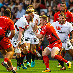 Chris Ashton of Toulon and Josh Bekhuis of Lyon during the pre-season match between Rc Toulon and Lyon OU at Felix Mayol Stadium on August 17, 2017 in Toulon, France. (Photo by Guillaume Ruoppolo/Icon Sport)