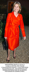 VISCOUNTESS LINLEY at a dinner in London on 24th May 2004.PUJ 200