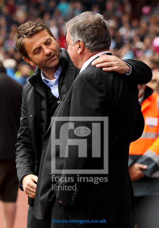 West Ham United manager Sam Allardyce (right) greets Aston Villa manager Tim Sherwood (left) before the Barclays Premier League match at Villa Park, Birmingham<br /> Picture by Tom Smith/Focus Images Ltd 07545141164<br /> 09/05/2015